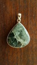 Pendant Seraphinite Handcrafted .925 Solid Sterling Silver 9grams