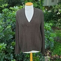 Ralph Lauren Women's Sz XL Dark Green V Neck Cable Knit Cotton Pullover Sweater