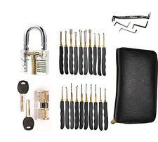 Goso Lockpicking Set + 2 x Übungsschloss Bügelschloss durchsichtig Haustür