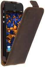 mumbi Leder Tasche Flip Case für Apple iPhone SE 5s 5 Hülle Schutzhülle braun