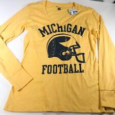Michigan Football Champion Long Sleeve T Shirt V Neck Woman's Size Medium NWT
