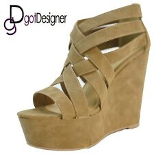 Womens Fashion Dress Shoe Bridal Beige Comfort Platform Wedge Heel Open Toes HOT