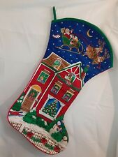 Vintage Jumbo Christmas Stocking Night Before XMAS Quilted Cranston VIP Fabric