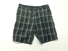 Hurley Men's Size 38 Gray And White Plaid And Check Polyester /Rayon  Shorts