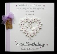 Large Personalised Flowerheart Birthday Card Mum Sister Daughter Nan Nana Auntie