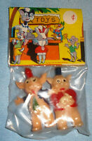 Vintage 1960's Hand Painted Toy Plastic Pigs - Original Pack - Hong Kong NOS