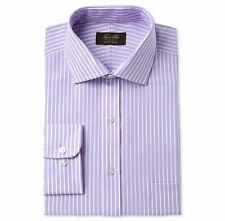 $99 Tasso Elba 17.5 32/33 Men'S Regular-Fit Purple White Long-Sleeve Dress Shirt