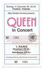 Queen    In Concert 1980    Ticket / Konzertkarte / Eintrittskarte