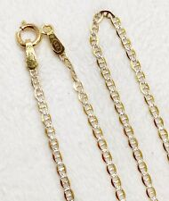 """14k Solid Yellow Gold 1.5MM 18"""" Diamond Cut Anchor Mariner Chain Necklace Unisex"""