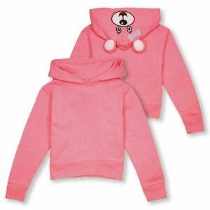 Wild Child Hoodies Kid's Neon Pink Bear Pull Over Hoodie (S05)
