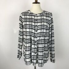 Anthropologie Women Sz 6 Top Shirt Blouse Button Down Plaid Pleated Wool Blend