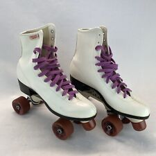 Roller Derby 940 White Skates, Purple Laces Size Women's 10
