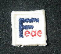"""FEDE EMBROIDERED SEW ON PATCH COMPANY ADVERTISING 1 1/4"""" X 1 1/4"""" SQUARE"""
