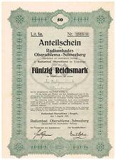 Radiumbad Oberschlema-Schneeberg i. Erzgebirge, 1926, Anteilschein 50 RM, ungelo