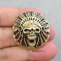 "1-1/4"" Solid Brass Decor Concho Leather Craft Skull Rivet Stud Punk Screw Back"
