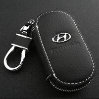 Leather Car logo Key Chain Case Remote Control Auto Keyfob wallet bag F Hyundai