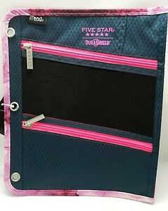 Mead Five Star DuraShield Pencil Pouch Bag 3 Ring Binder 3 Compartments Pink