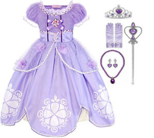 Girls Sofia The First Deluxe Costume Princess Kids Fancy Dress Christmas Party