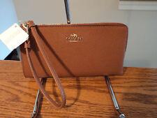 Authentic Coach 52549B L Zip Leather Zippy Wallet Phone Case Saddle Brown NWT