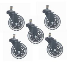 "5pcs 3"" Office Chair Rollerblade Style Soft Wheel Casters Ball Bearing Axle"