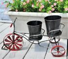 Vintage Metal Bicycle Tricycle Floral Planter Stand Wind Spinner 2-Seat w/Pots