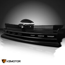 Fit 99-06 VW Golf GTI MK4 Black Bumper Grille Horizontal Badgeless+Notch Filler