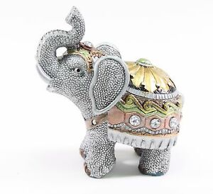 """Feng Shui 4.5"""" Small Gray Elephant Trunk Statue Lucky Figurine Gift Home Decor."""