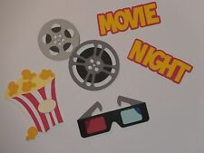 Movie Night popcorn film 3D glasses scrapbooking die cuts