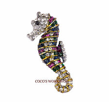 Womens Brooch Gift Crystal 3D Rainbow Seahorse