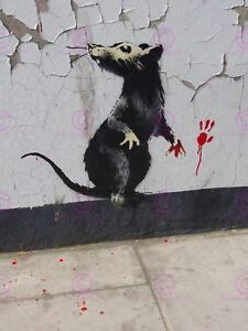 Photography Graffiti Street Banksy Rat Detail Red Handed Canvas Art Print