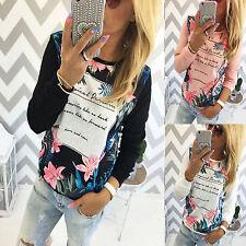 Damen Blumen T Shirt Langarm Freizeit Sweatshirt Pullover Tops Bluse Oberteile
