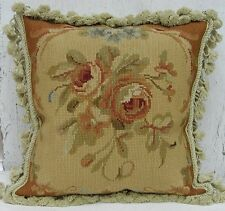 "14"" Square Rose Handmade Wool Needlepoint Cushion Cover Pillow Case"