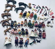 Playmobil Vintage Lot Figures Animals Girl Boy Baby Bride Zoo Knight Hat Flower