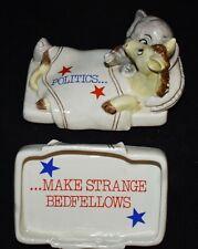 Politics Make Strange Bedfellows Trinket Box Vtg Fitz & Floyd 1980 elephant/Donk