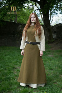 Medieval Surcot Overdress Wool/ Larp - Autumn Green From Burgschneider
