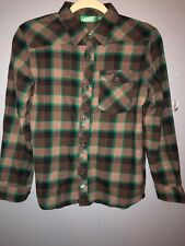 Vans Boys Brown & Green Flannel Button Front Long Sleeve Shirt Size L