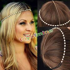 Bohemian Women Metal Pearl Head Chain Jewelry Forehead Headband Piece Hair band
