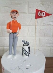 Edible golf player cake topper decoration, fully customisable.