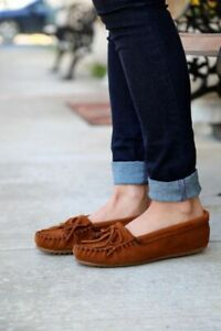 NEW Minnetonka Kilty Suede Moccasins Loafer Flats UK 7 EU 41 Brown
