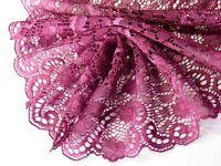 1 lfM. breite Spitzenborte Band Bordüre elastisch Dunkellila Himbeer 18cm