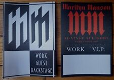 LOT OF 2 UNUSED MARILYN MANSON SHOW STICKIE PASSES