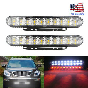 2x30LED Car White DRL&Amber Turn Signal Indicator Daytime Fog Running Light Lamp