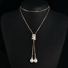 Women Sweater Tassel Pearl Pendant Long Chain Crystal Necklace Clothing Acces