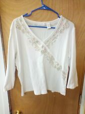 Preswick & Moore Women's white 3/4 Sleeve Shirt with design size xl