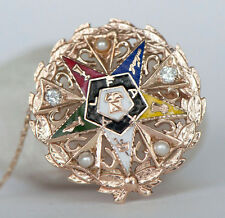 Vintage 5.9g 14k Diamond Pearl Solid Gold Eastern Star Pin