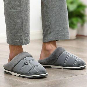 Men Winter Slippers Plush Velvet Non-Slip Waterproof Indoor Shoes Christmas Gift