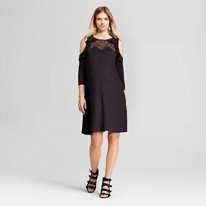 Isabel Maternity 3/4 Sleeve Cold Shoulder Ruffle Dress Black