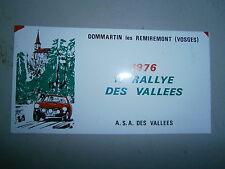 Plaque 11° rallye des vallées Dommartin les Remiremont 1976 Vosges ASA Lorraine