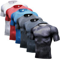 Men Compression Short Sleeve T-shirt Skin Sports Fitness Jersey Gym Athletic Top