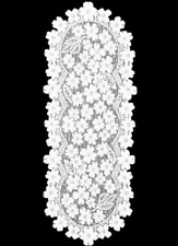 "Heritage Lace White DOGWOOD Table Runner 14"" x 33"""